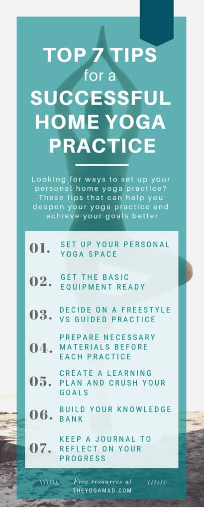 Top 7 tips successful home yoga practice infographic
