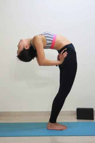 Supported standing backbend [Anuvittasana]