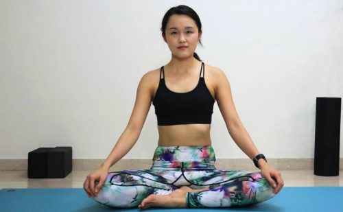 Easy Pose - Sukhasana - Yoga poses for beginners (see more at https://theyogamad.com)