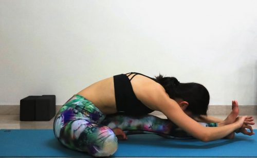 Head to knee forward fold [Janu Sirsasana] - Yoga poses for beginners (see more at https://theyogamad.com)