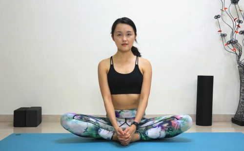 Cobbler's pose with or without forward fold [Baddha Konasana] - Yoga poses for beginners (see more at https://theyogamad.com)