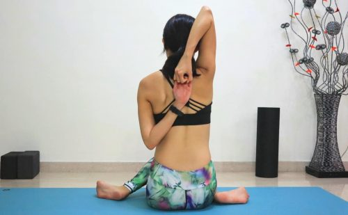 Cow face pose [Gomukhasana] - Yoga poses for beginners (see more at https://theyogamad.com)
