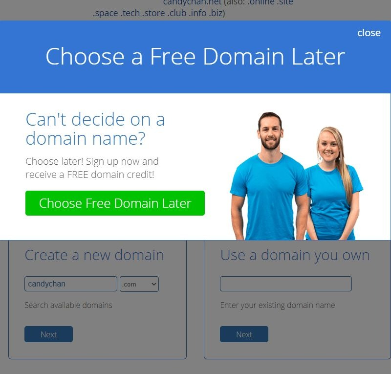 Bluehost - set up domain later