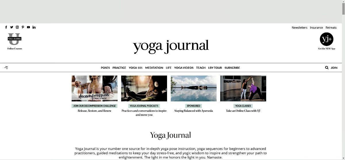 Yoga Journal Website