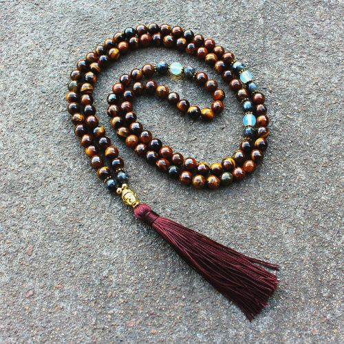 Tiger Eye Mala Beads with Tassel